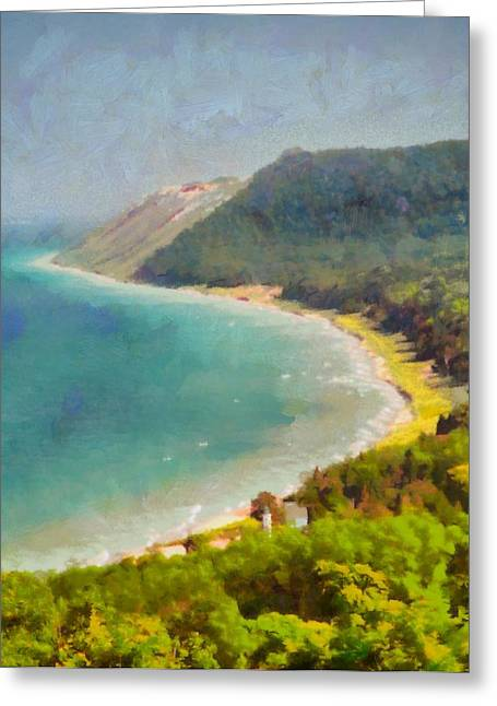Blue Green Wave Greeting Cards - Sleeping Bear Dunes Lakeshore View Greeting Card by Dan Sproul