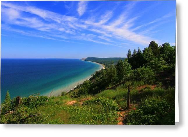 Best Sellers -  - Blue Green Wave Greeting Cards - Sleeping Bear Dunes National Lakeshore Greeting Card by Dan Sproul