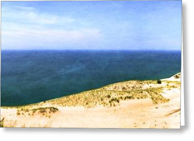 Blue Green Wave Greeting Cards - Sleeping Bear Dunes Panorama Greeting Card by Michelle Calkins