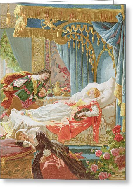 Fairies Drawings Greeting Cards - Sleeping Beauty and Prince Charming Greeting Card by Frederic Lix