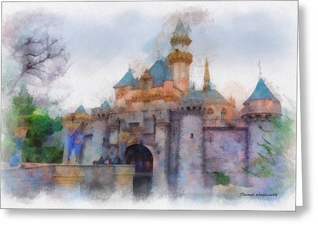 Main Street Greeting Cards - Sleeping Beauty Castle Disneyland Side View Photo Art 01 Greeting Card by Thomas Woolworth