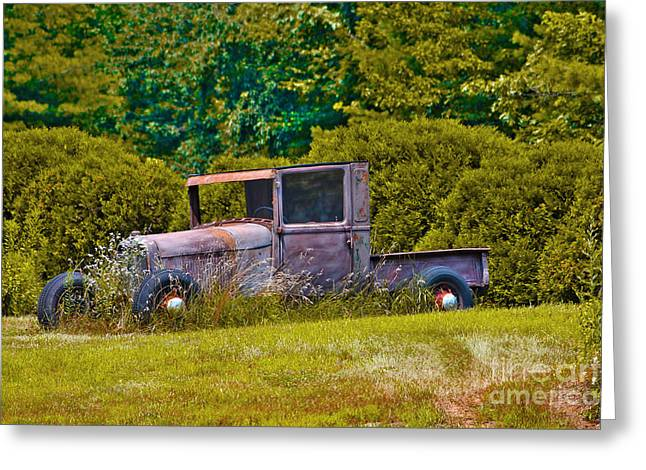 Rusted Cars Greeting Cards - Sleeping beauty Greeting Card by Claudia Mottram