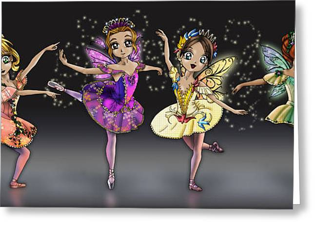 Ballet Dancers Greeting Cards - Sleeping Beauty Fairies Greeting Card by Alicia Matheson