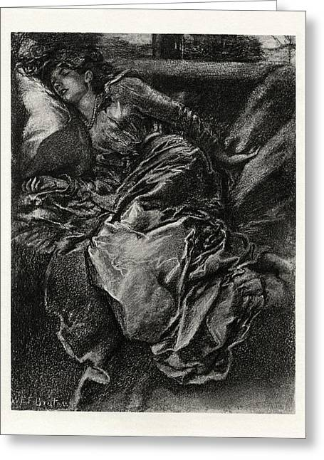 1916 Drawings Greeting Cards - Sleeping Beauty Greeting Card by Celestial Images