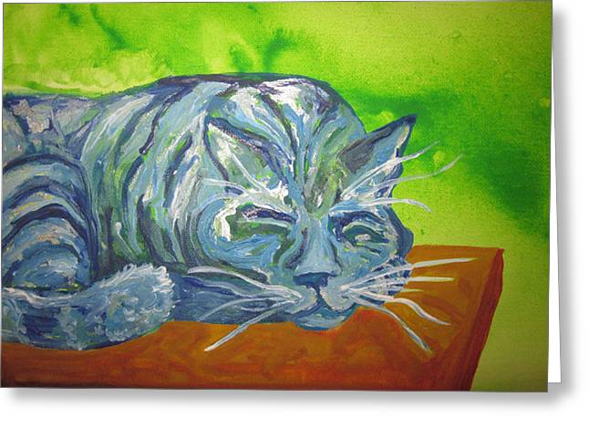 Cherie Sexsmith Greeting Cards - Sleeping Blue Cat Greeting Card by Cherie Sexsmith
