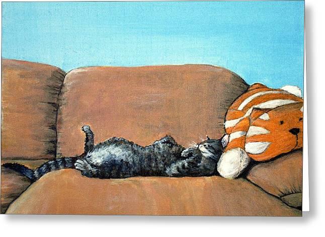 Sleeping Cat Greeting Card by Anastasiya Malakhova