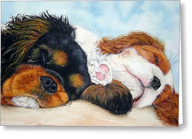 Sleeping Cavalier Puppies Greeting Card by Toulla Hadjigeorgiou
