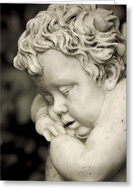 Marble Eye Greeting Cards - Sleeping cherub Greeting Card by Maria Heyens