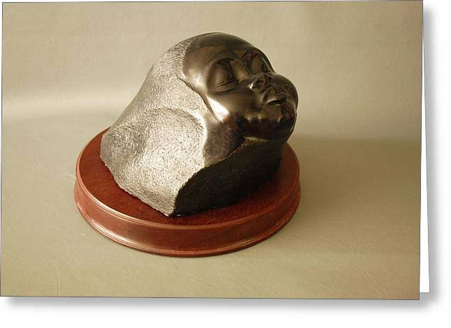 African Sculptures Greeting Cards - Sleeping Child Greeting Card by Leslie Dycke