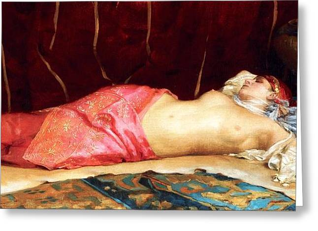 Concubine Paintings Greeting Cards - Sleeping Concubine Greeting Card by Pg Reproductions