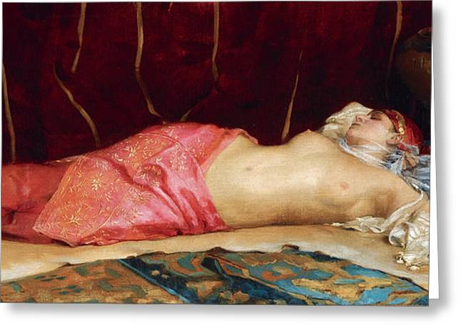 Concubine Paintings Greeting Cards - Sleeping Concubine Greeting Card by Theodoros Rallis