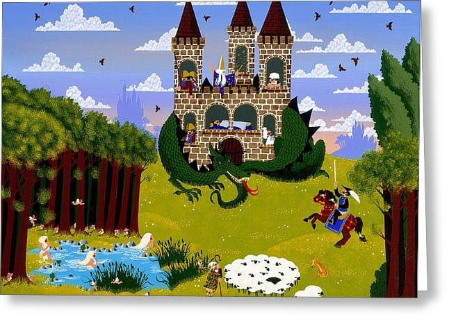 Knights Castle Paintings Greeting Cards - Sleeping Cutie Greeting Card by Merry  Kohn Buvia