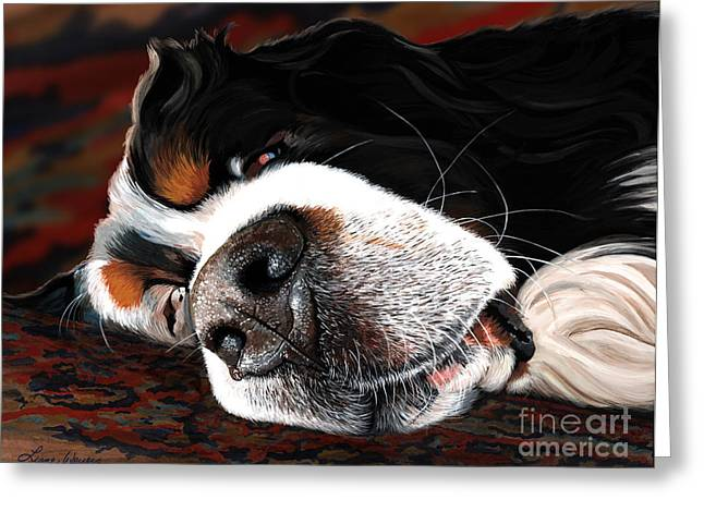 Berner Greeting Cards - Sleeping Dogs Lie Greeting Card by Liane Weyers