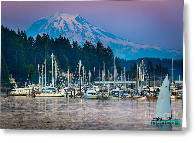 Docked Sailboat Greeting Cards - Sleeping Giant Greeting Card by Inge Johnsson