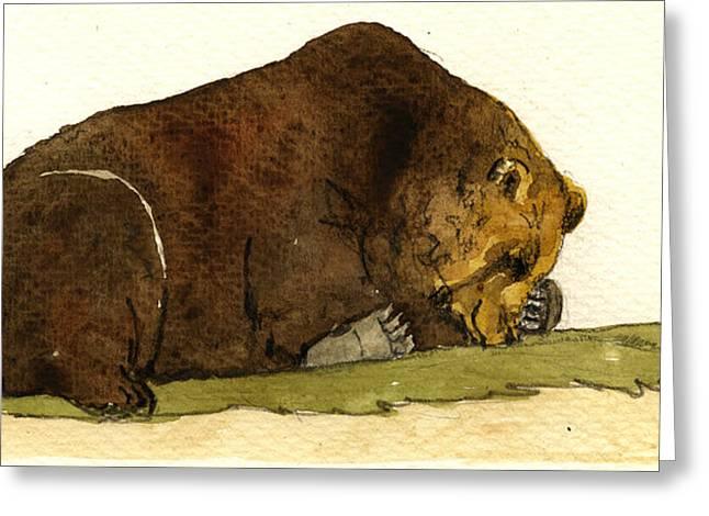 Sleeping Paintings Greeting Cards - Sleeping grizzly bear Greeting Card by Juan  Bosco