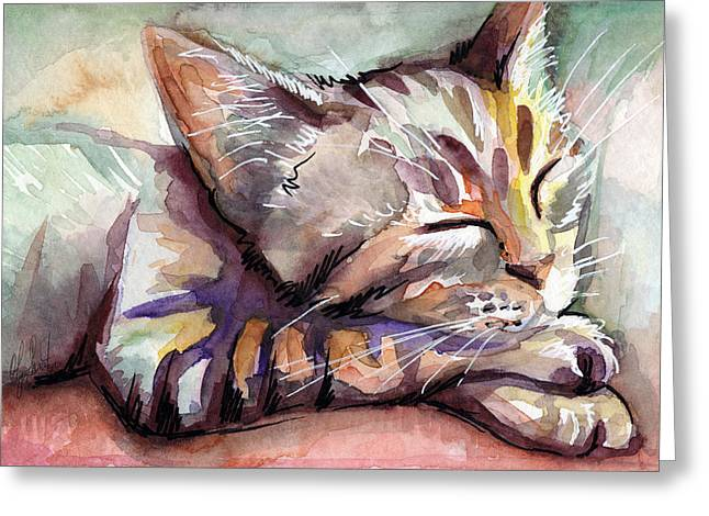 Tabby Greeting Cards - Sleeping Kitten Greeting Card by Olga Shvartsur