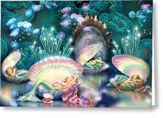 Jellyfish Greeting Cards - Sleeping Mermaids Greeting Card by Zorina Baldescu