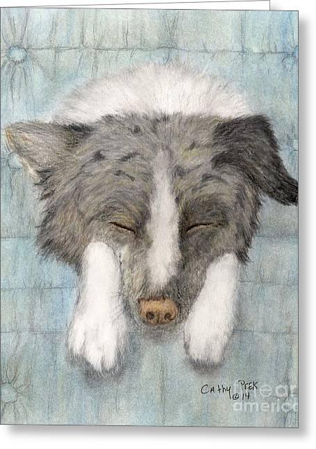 Mini Drawings Greeting Cards - Sleeping Mini Aussie Dog Cathy Peek Animal Art Greeting Card by Cathy Peek