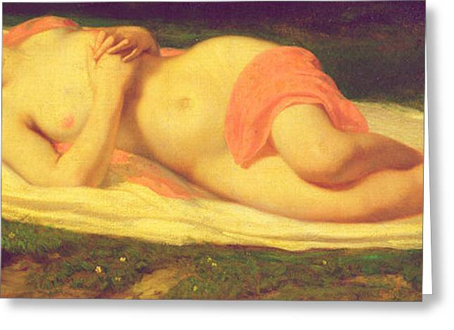 Female Body Greeting Cards - Sleeping Nymph Greeting Card by Jean Baptiste Ange Tissier