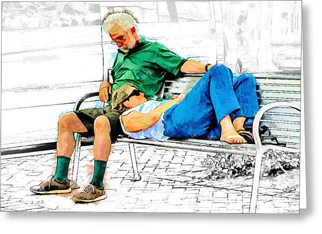 Love Asheville Greeting Cards - Sleeping on a Park Bench Greeting Card by John Haldane