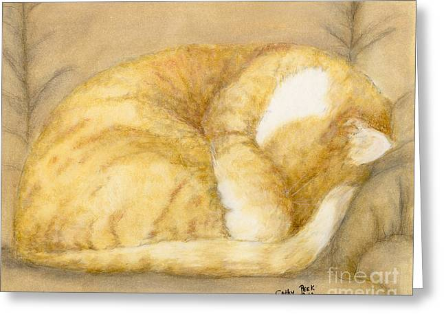 Orange Tabby Paintings Greeting Cards - Sleeping Orange Tabby Cat Feline Animal Art Pets Greeting Card by Cathy Peek
