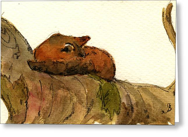 Trees Forest Paintings Greeting Cards - Sleeping red fox Greeting Card by Juan  Bosco