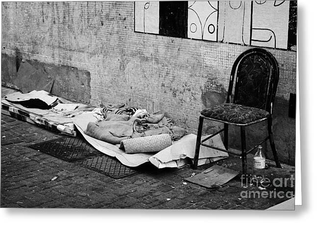 Cardboard Greeting Cards - sleeping rough on the streets of Santiago Chile Greeting Card by Joe Fox