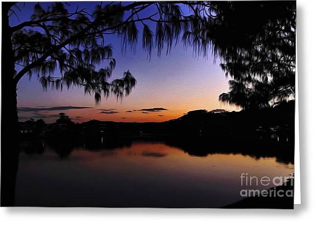 Sleeping Sun Greeting Card by Kaye Menner