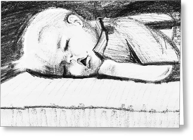 Grungy Drawings Greeting Cards - Sleeping toddler Greeting Card by Christina Rahm