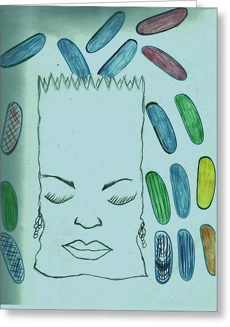 Green Beans Drawings Greeting Cards - Sleeping Trash bag Greeting Card by Nicole Burrell