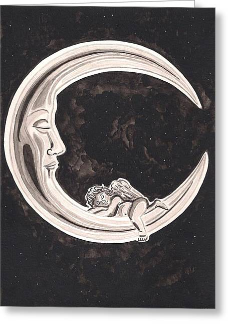 Recently Sold -  - Night Angel Greeting Cards - Sleeping Under the Stars Greeting Card by Heidi Bjork