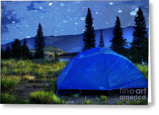 Camping Greeting Cards - Sleeping Under the Stars Greeting Card by Juli Scalzi