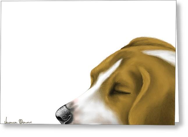 Dogs Digital Greeting Cards - Sleeping Greeting Card by Veronica Minozzi