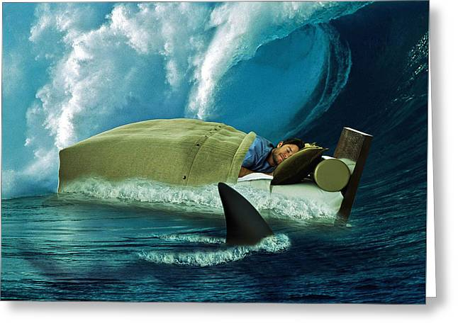 Digital Collage Greeting Cards - Sleeping with Sharks Greeting Card by Marian Voicu