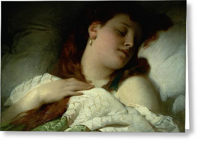 Long Bed Greeting Cards - Sleeping Woman Greeting Card by Sandor Liezen-Meyer