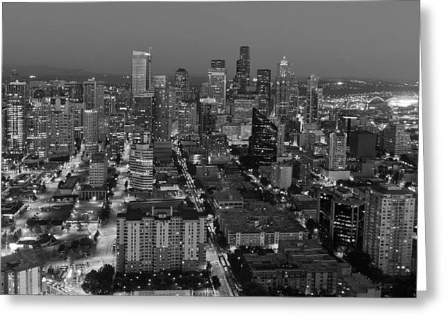 Office Space Greeting Cards - Sleepless In Seattle Black and White Greeting Card by Heidi Smith