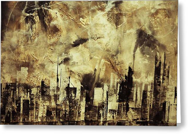 Citizens Mixed Media Greeting Cards - Sleepless Skyline Greeting Card by Kusum Vij