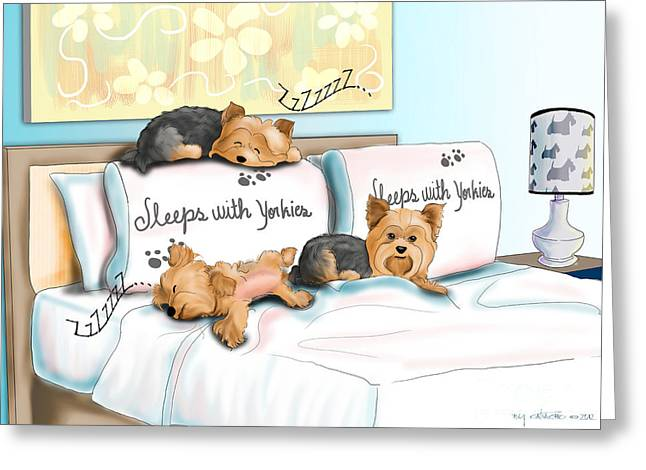Puppies Mixed Media Greeting Cards - Sleeps with Yorkies Greeting Card by Catia Cho