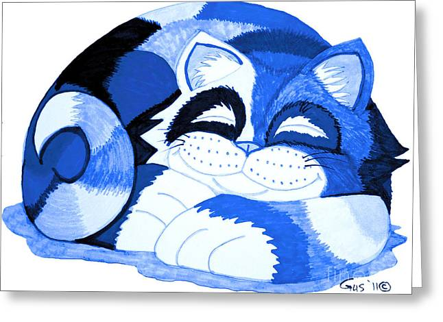 Cat Sleeping Greeting Cards - Sleepy Blue Cat Greeting Card by Nick Gustafson