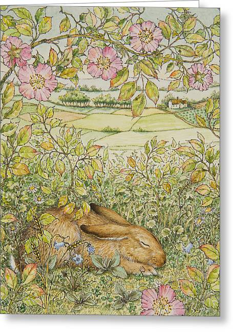 Hare Greeting Cards - Sleepy Bunny Greeting Card by Lynn Bywaters
