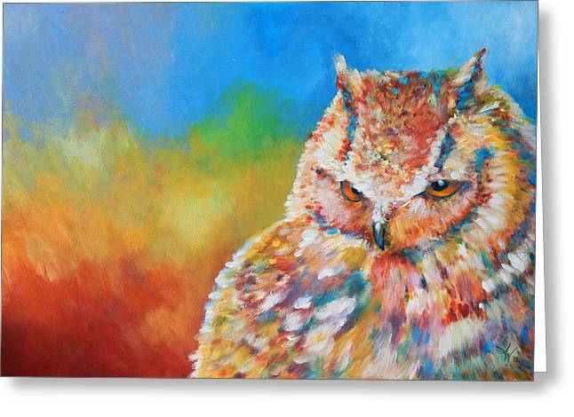 Reds Orange And Blue Greeting Cards - Sleepy Contemplation Greeting Card by Arie Van der Wijst