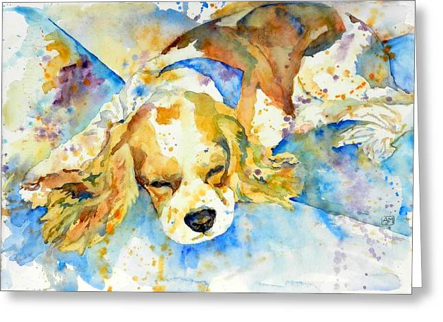 Sleeping Dogs Greeting Cards - Sleepy Dog Greeting Card by Andrea Merican