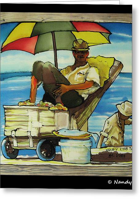 Men Tapestries - Textiles Greeting Cards - Sleepy Fisherman Greeting Card by Nandy King