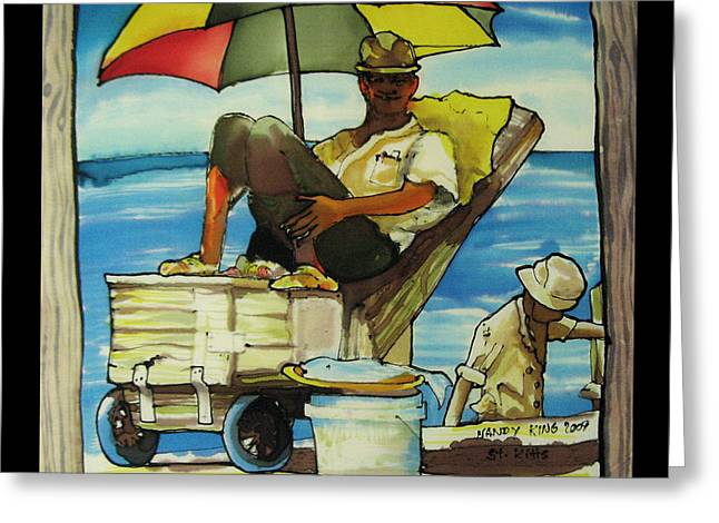 Sleepy Fisherman Greeting Card by Nandy King