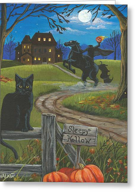 Haunted House Paintings Greeting Cards - Sleepy Hollow-Katrinas Cat Greeting Card by Misty Walkup