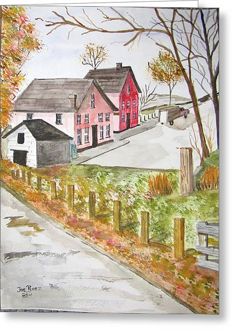 Old Maine Barns Paintings Greeting Cards - Sleepy Greeting Card by Joe Perez