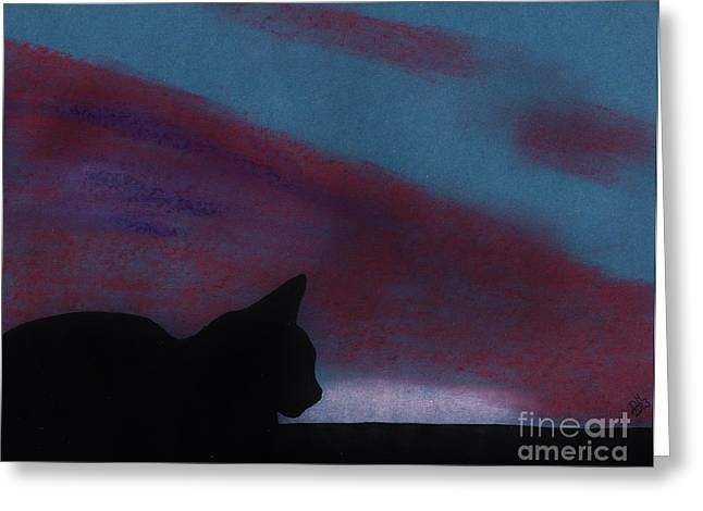 Hand Drawn Pastels Greeting Cards - Sleepy - Cat - Sunset Greeting Card by D Hackett