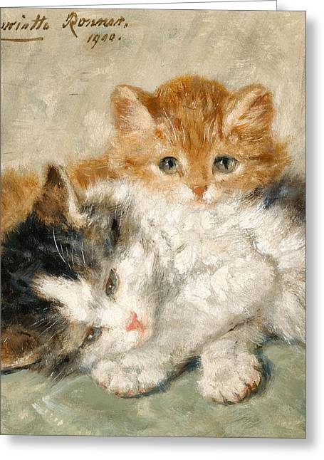 Henriette Greeting Cards - Sleepy Kittens Greeting Card by Henriette Ronner-Knip