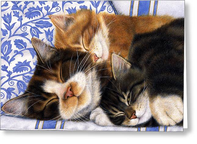Recently Sold -  - Christmas Art Greeting Cards - Sleepy Kitties Greeting Card by Anne Mortimer