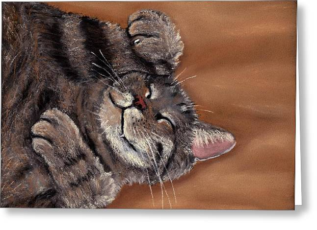 Kid Pastels Greeting Cards - Sleepy Kitty Greeting Card by Anastasiya Malakhova